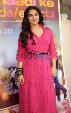 Vidya Balan in pink dress at Bade Achhe Lagte Hain sets