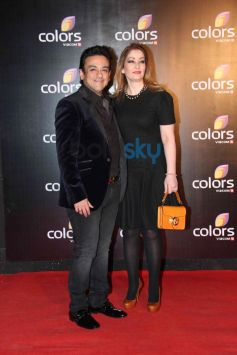 Adnan Sami with wife at star studded colors party