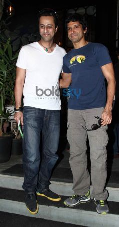 Farhan Akhtar with Salim Merchant during book launch