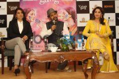 Madhuri Dixit and Juhi Chawla during Gulab Gang promotion