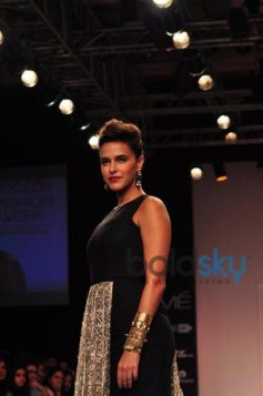 Neha Dhupia walks for LFW 2014 Payal Singhal show