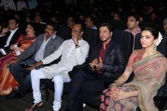 Rajinikanth,SRK,Deepika Padukone during Kochadaiyaan music launch