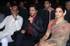 Rajinikanth,SRK,Deepika Padukone during Kochadaiyaan music launchRajinikanth,SRK,Deepika Padukone du