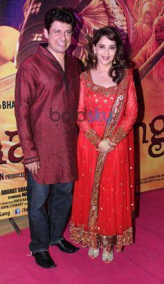 Sriram Madhav Nene and Madhuri Dixit Nene during Gulab Gang screening