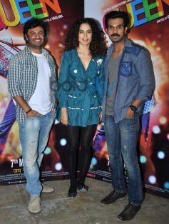 Vikas Bahal, Kangna Ranaut and Rajkumar Rao at Queen special screening at ligthbox