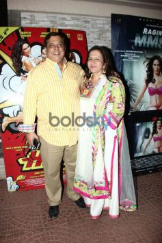 David Dhawan with wife at Mai Tera Hero and Ragini MMS 2 success party