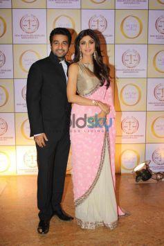 Raj Kundra with Shilpa Shetty Kundra during Satyug Gold party