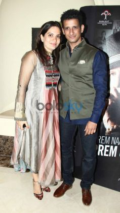Sharman Joshi with wife at Prem Chopra Biography Launch