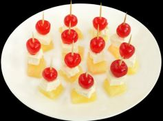 Cheese, pineapple and cherry