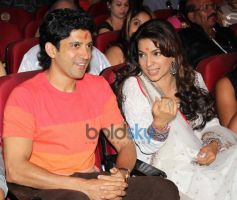 Farhan Akhtar and Juhi Chawla at Dadasaheb Phalke Awards