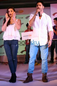 Alia Bhatt and Varun Dhawan during a promotion of HSKD
