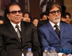 Dharmendra and Amitabh Bachchan at Dilip Kumar Autobiography Launch