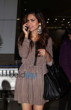 Esha Gupta snapped at Domestic Airport