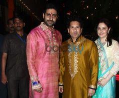 Abhishek bachchan, Sachin Tendulkar And Anjali Tendulkar