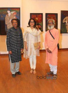 Manali Dilip Vengsarkar with artists Malay Chandan Saha And Samir Saha