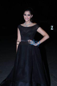 Sonam Kapoor Looks Stunning In Black Ashi Studio Red Carpet Gown.