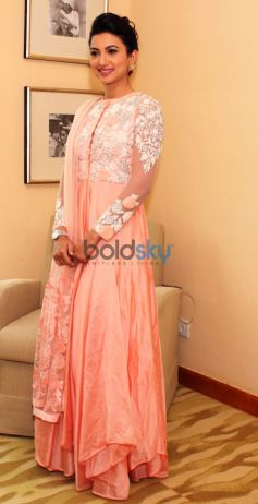 Gauhar Khan At A Photoshoot In Designer Varun Bahl Outfit