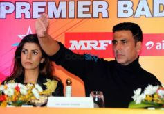 Akshay Kumar And Nirmit Kaur During In Premier Badminton League