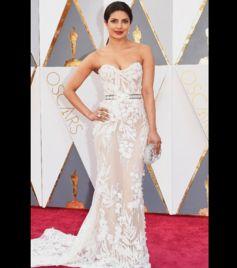 Priyanka Chopra Glowed In A Sheer White Gown At The Oscars