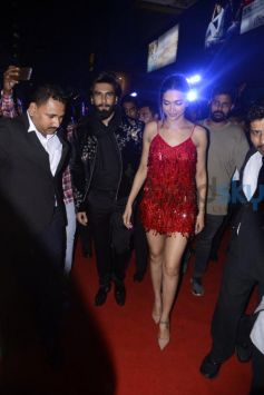 Deepika Padukone Looks Hot In Red With Ranveer At xXx Party