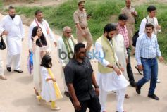Aishwarya Rai,Abhishek Bacchan and Aradhya Bacchan in Allahabad
