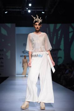 Ekru By Ekta Jaipuria And Ruchira Kandhari Showstopper Anjum Chopra At Amazon India Fashion Week