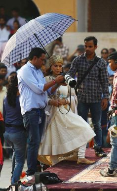 Kangana Ranaut Shooting For Manikarnika In Her Rani Laxmi Bai Look, At Amber Fort, In Jaipur