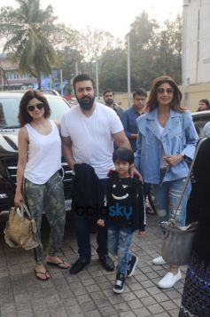 Shilpa Shetty Spotted With Family At Juhu PVR