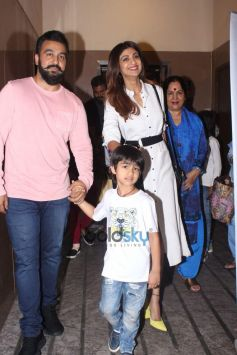 Raj Kundra And Shilpa Shetty Snapped With Her Mother At PVR