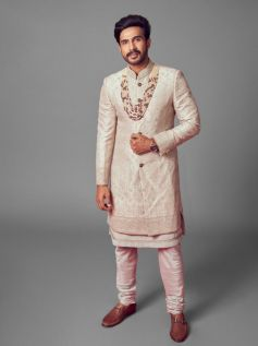 Ace Badminton Player Jwala Gutta & actor Vishnu wore outfits by Rimple and Harpreet Narula for their