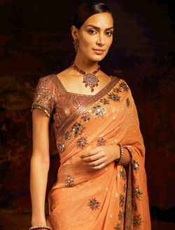 Combination of orange and yellow in spring sarees