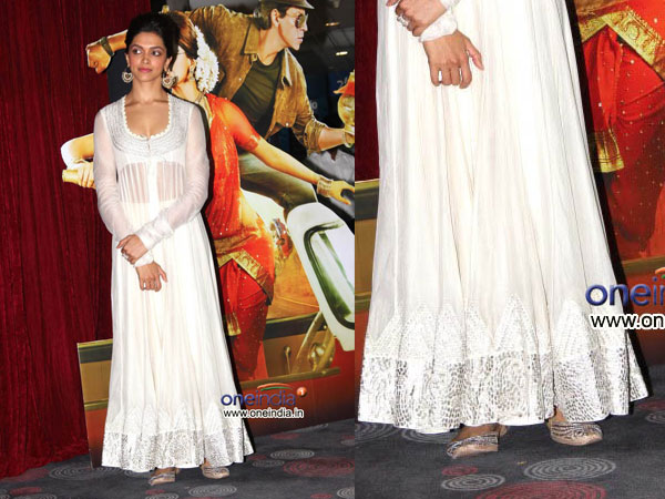 Deepika In White Anamika Khanna Dress