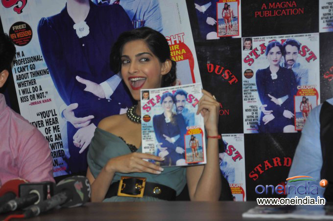 Imran Khan & Sonam Kapoor launch Stardust August 2013 cover