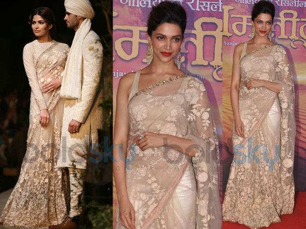 Deepika In lace saree from Sabyasachi new collection ... Sabyasachi Lakme Fashion Week 2013