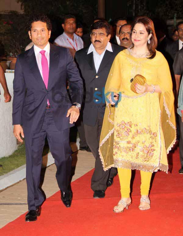 Sachin Tendulkar with his wife at CCL Inaguration Red ... Sachin Tendulkar Wife