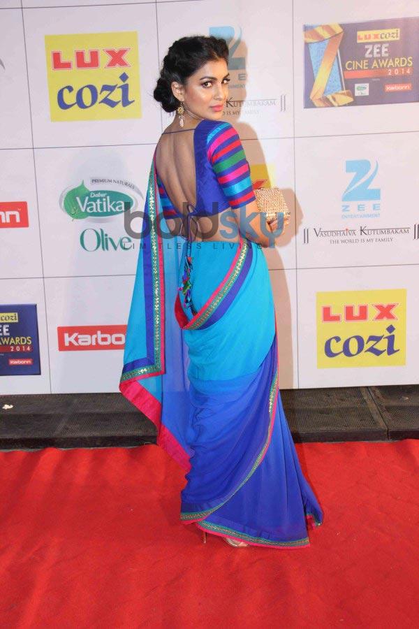 Pallavi Sharda stuns in blue saree at Zee Cine Awards 2014 ...  Pallavi Sharda ...