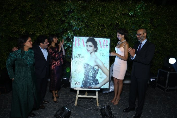 Deepika Padukone unveils Harper's Bazaar India March 2014 cover