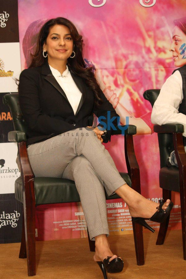 Madhuri Dixit and Juhi Chawla during Gulab Gang promotion
