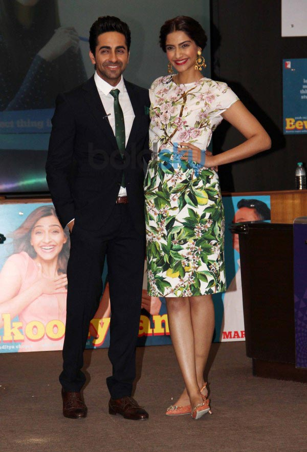 Sonam Kapoor and Ayushmann during  Bewakoofiyaan promotion