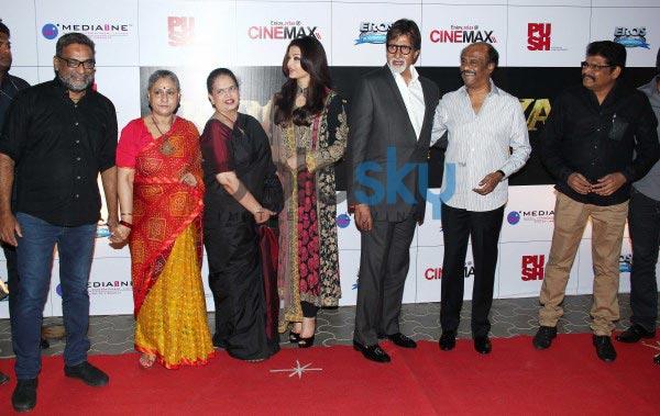 Rajnikant, Amitabh Bachchan, Aishwariya Bachchan at Kochadaiyaan event