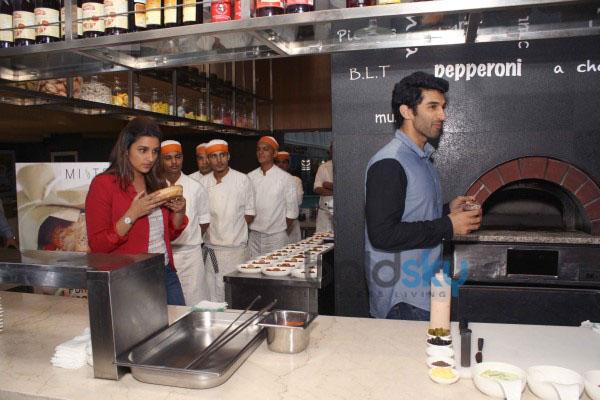 Parineeti Chopra and Aditya Roy Kapur live cooking to promote Daawat -E- Ishq at Mistral Restaurant