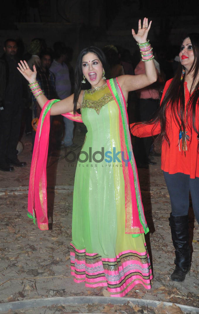 Sunny Leone Goes Traditional In Neon Green Suit