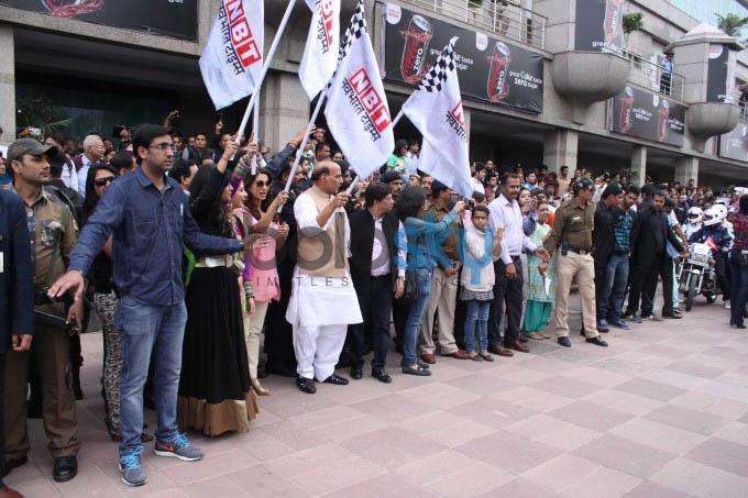 Juhi Chawla  At The NBT All Woman Bike Rally In New Delhi
