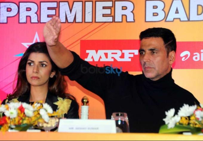 Akshay Kumar And Nimrat Kaur During In Premier Badminton League