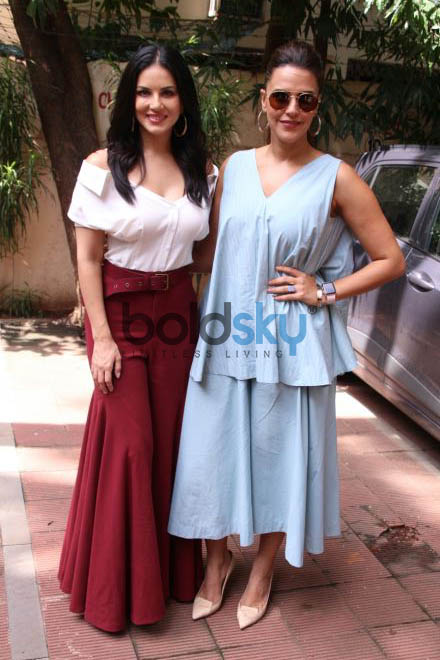 Sunny Leone And Neha Dhupia For Her Show 'No Filter Neha' In Khar