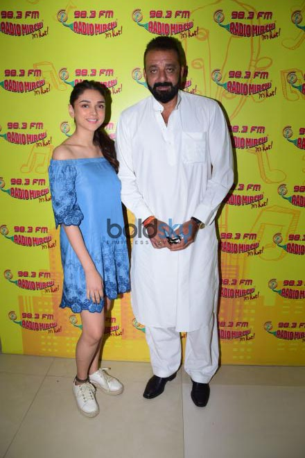 Sanjay Dutt And Aditi Rao Hyadari At Radio Mirchi Studio Promoting Bhoomi