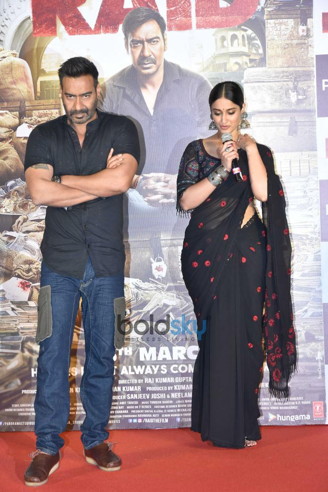 Ajay Devgn And Ileana D'Cruz At 'Raid' Trailer Launch