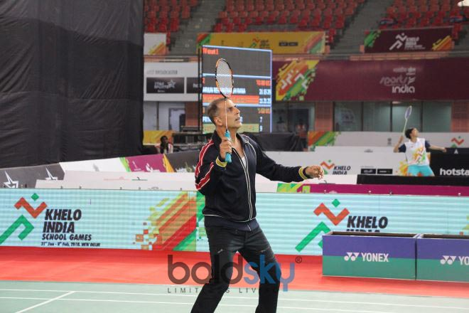 Akshay Kumar Spotted Playing Badminton At Khelo India In New Delhi