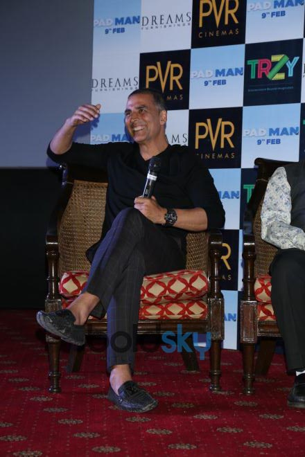 Akshay Kumar And Twinkle Khanna During Promotion Of 'Padman' In New Delhi