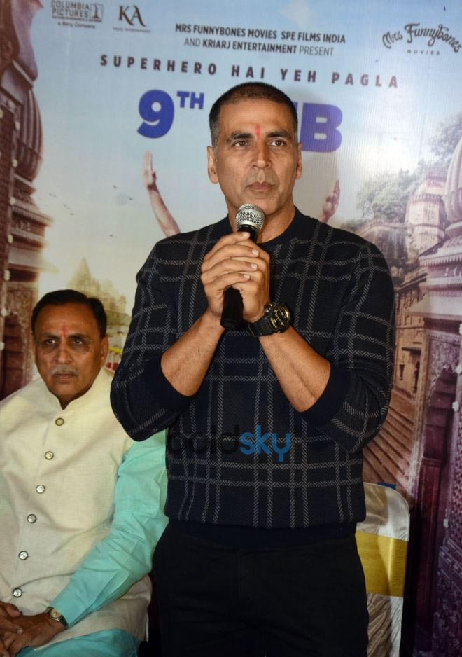Bollywood Actor Akshay Kumar With Gujarat Chief Minister Vijay Rupani In Ahmedabad
